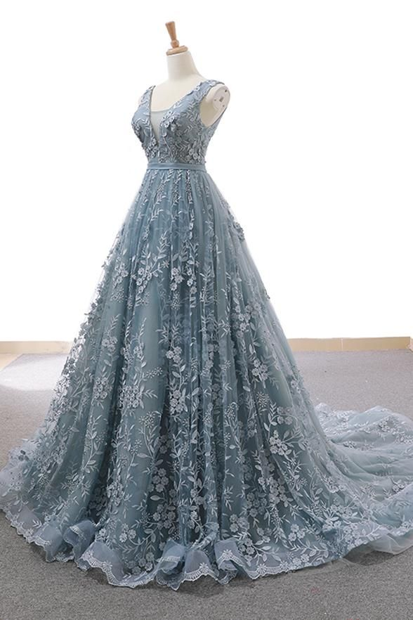 Photo of Fashion V Neck Lace Grey Blue High Quality Long Prom Dress Formal Evening Grad Dresses LD1969 – US6 / Picture color