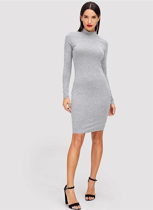 7659557af00ee Ashia Mock Neck Bodycon Basic Dress Grey in 2019 | Athleisure ...