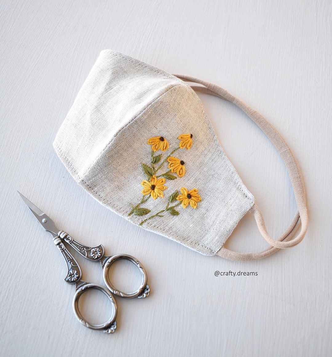 """Photo of Ashrifa Anwer on Instagram: """"Fabric face mask with a spring vibe 😷 ✨ . . . . #craftydreams #embroidery #ashrifaanwer #fiberartist #hoopembroidery #etsy #etsyuk…"""""""