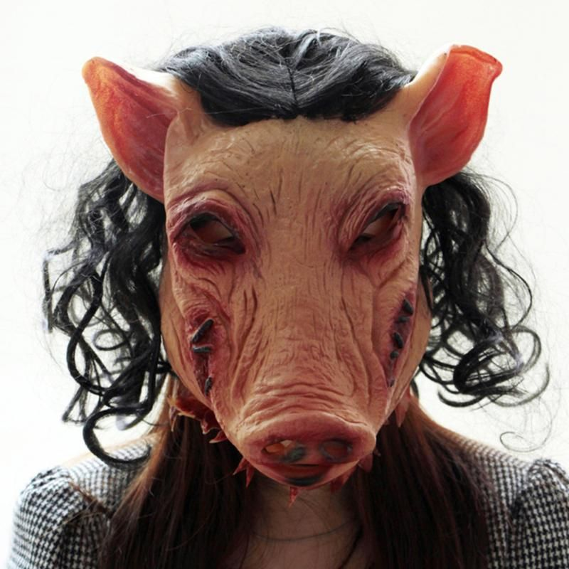 SAW HALLOWEEN FANCY DRESS RUBBER HORROR  MASK PIG HORROR MASK