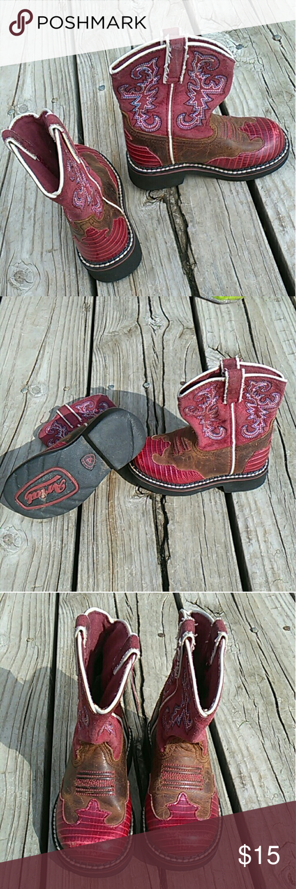 Girls Ariat Boots Girls Red Ariat Round Toe Boots.  Excellent  pre loved condition.  Only used a handful of times before she grew out of these.  Toddler size 8.5 No trades.  Offers accepted through offer button only. Ariat Shoes Boots