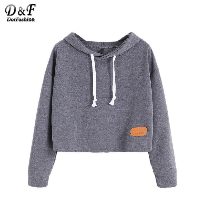 Clothes · Cute Sweatshirts Winter Top Long Sleeve Hoodie Women Dark Grey  Hooded Shoulder Patch Sweatshirt