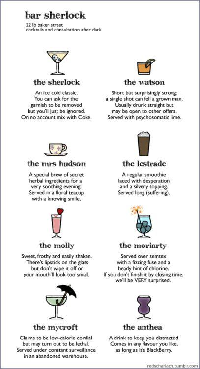 Bar Sherlock, at 221b Baker St. - drinks menu