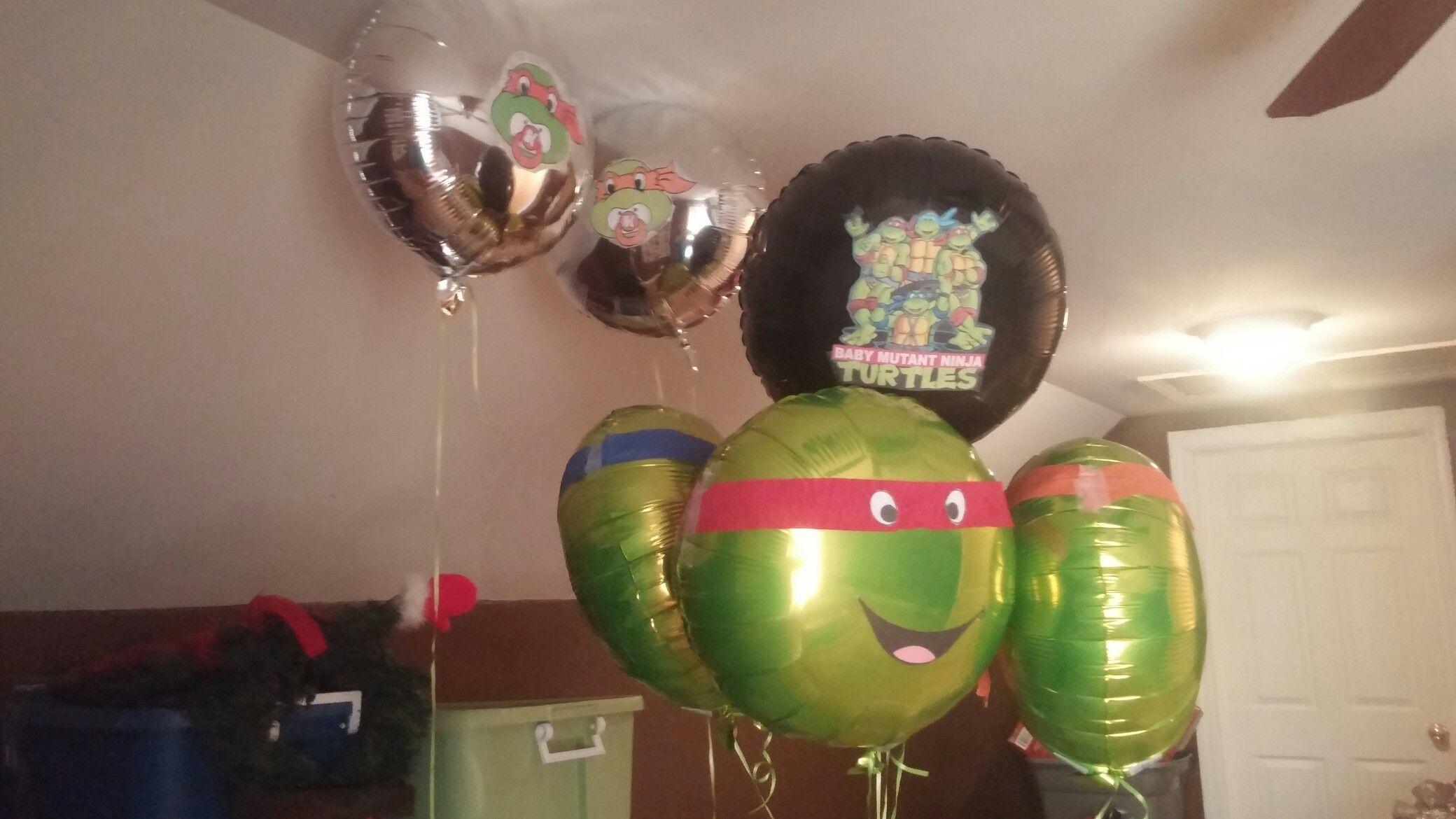 Ninja turtle balloons i made for baby shower ninja turtle baby