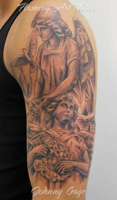 f847c4d3efd5c Angel half sleeve tattoo | Tattoos | Angel tattoo designs, Angel ...