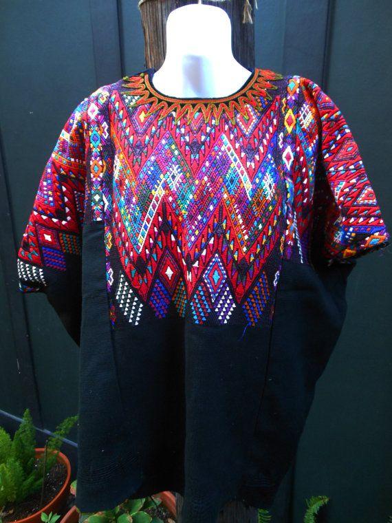 Handmade woven Huipil geometric antique Guatemalan Mayan textile ...