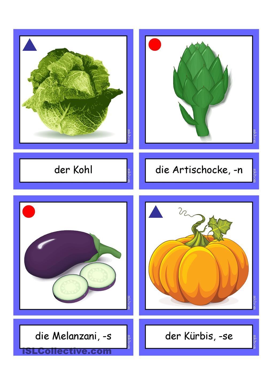Flashcards_Gemüse 2_ mittel | Sachunterricht | Pinterest | Deutsch ...