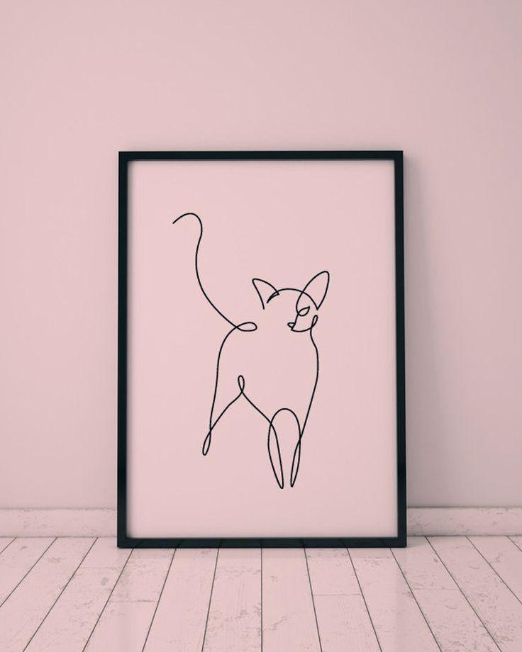 Abstrakte Katze eine Strichzeichnung, Wanddekordruck, miimalistische Kunst, druckbare Kunst der Tiere, großer Schwarzweiss-Druck, einzelne ununterbrochene Linie,  #Abstrakte #blacktattooabstract #der #druckbare #eine #einzelne #großer #Katze #Kunst #Linie #miimalistische #SchwarzweissDruck #Strichzeichnung #Tiere #ununterbrochene #Wanddekordruck