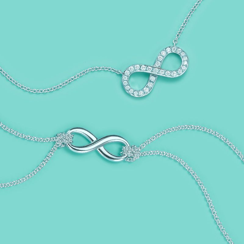 e47ce705c Tiffany Infinity pendants, from top: platinum with diamonds and sterling  silver. #TiffanyPinterest