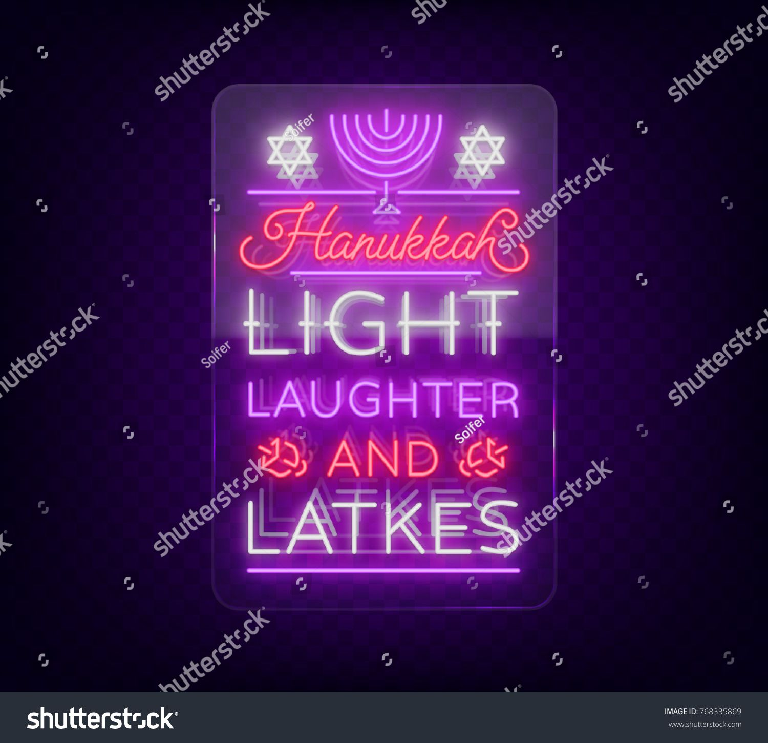 Happy Hanukkah Greeting Card In A Neon Style Vector Illustration
