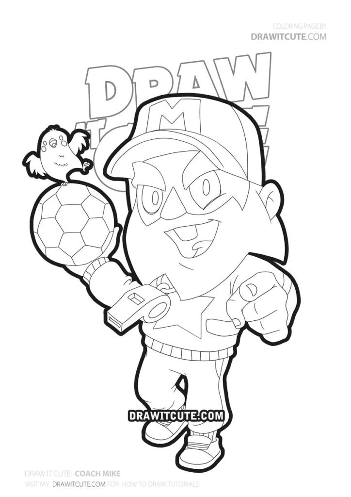 Coach Mike Brawl Stars Coloring Page By Draw It Cute Star Coloring Pages Super Easy Drawings Drawings