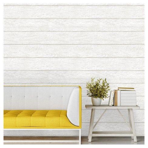 Devine Color Textured Shiplap Peel & Stick Wallpaper White