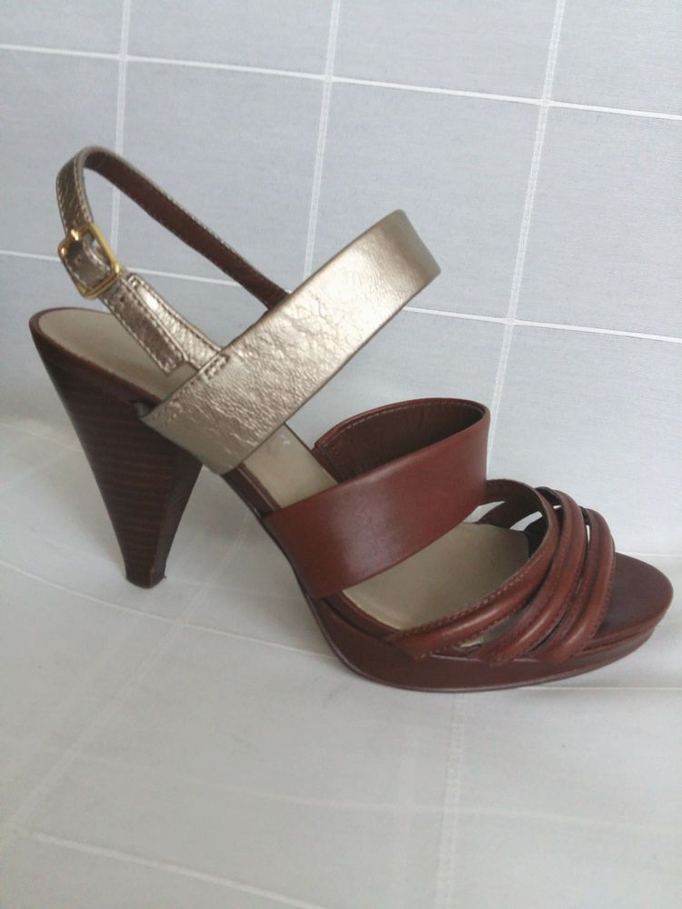 5f333681d M S Autograph Brown Gold Leather Platform Sandals UK 7 US 10 EU 40