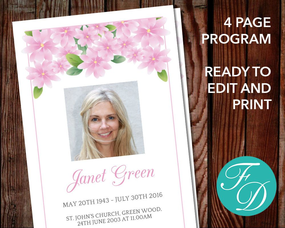 Funeral program template, order of service, memorial program ...