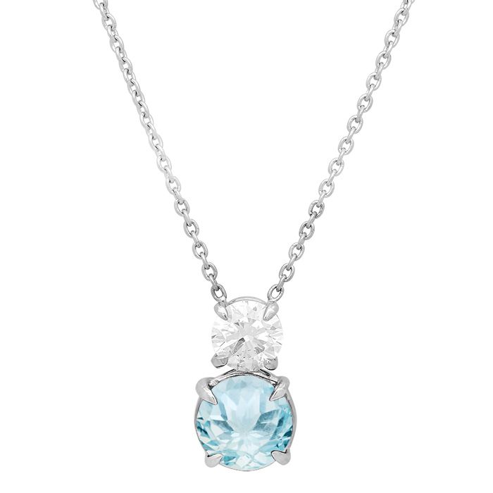 Two Stone Diamond And Gemstone Necklace March Birthstone Jewelry Gemstone Necklace Birthstone Jewelry