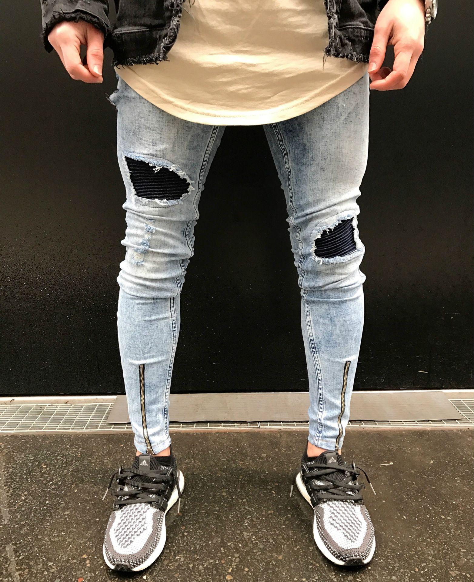 Men Ankle Zipper Big Hole Denim Skinny Jeans | Ripped jeans