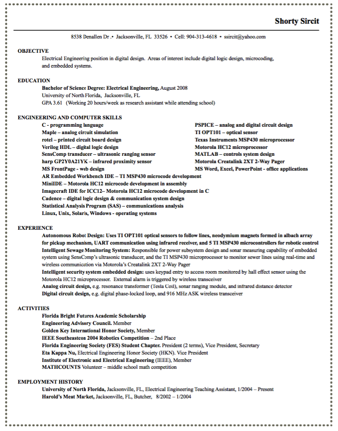 Electrical Engineering Position Resumes  HttpExampleresumecv