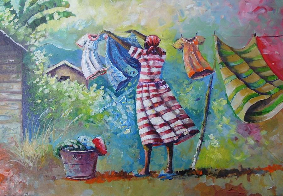 Wash Day By Alphanso Blake Laundry Art African Art Caribbean Art