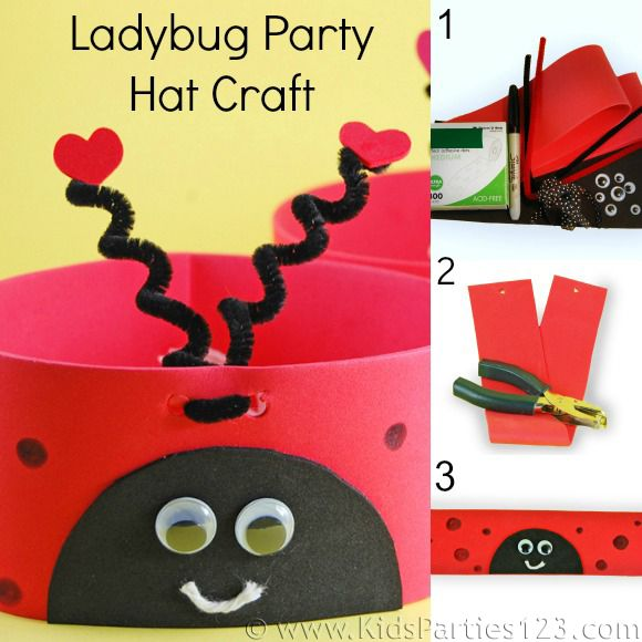 Fun and easy ladybug party hat craft from KidsParties123.com #partyhat #ladybug #kidscrafts