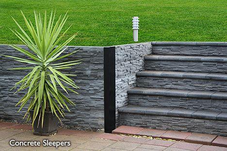 Modern Stone Wall Stairs Concrete Sleeper Retaining Walls Concrete Sleepers Modern Garden