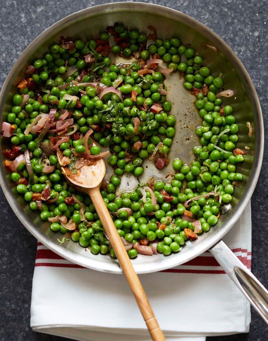 Peas and Pancetta #dinnersidedishes