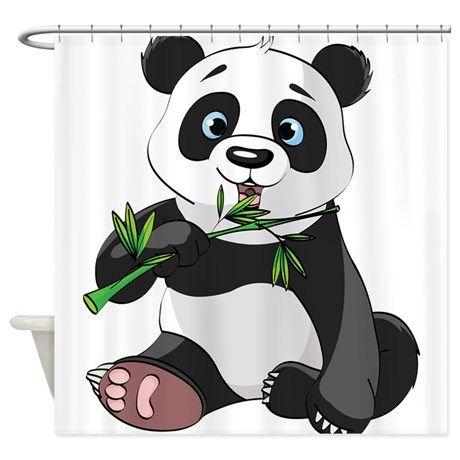 Panda Eating Bamboo-2 Shower Curtain on CafePress.com