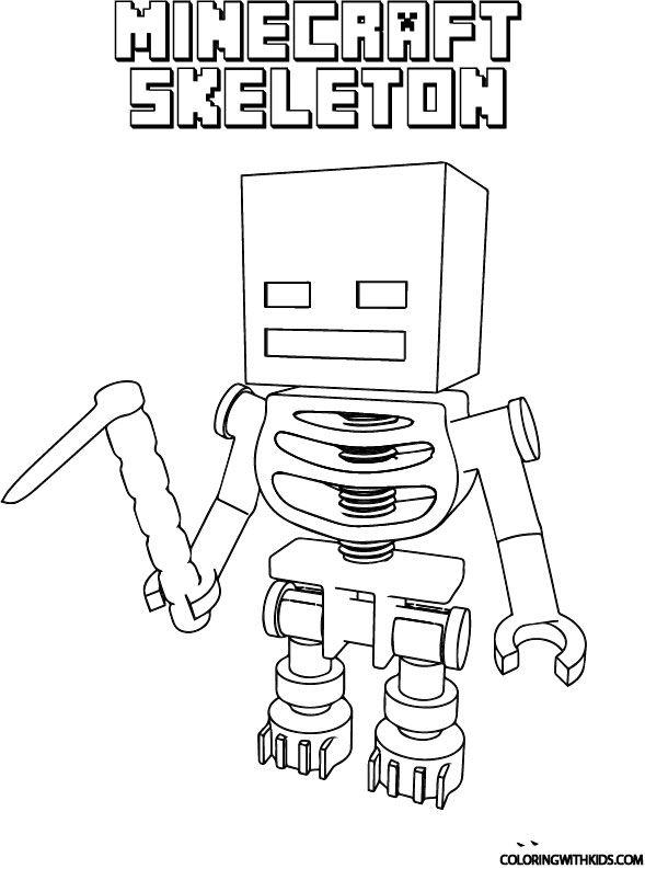 Minecraft Skeleton Coloring Page in 2020 | Minecraft ...
