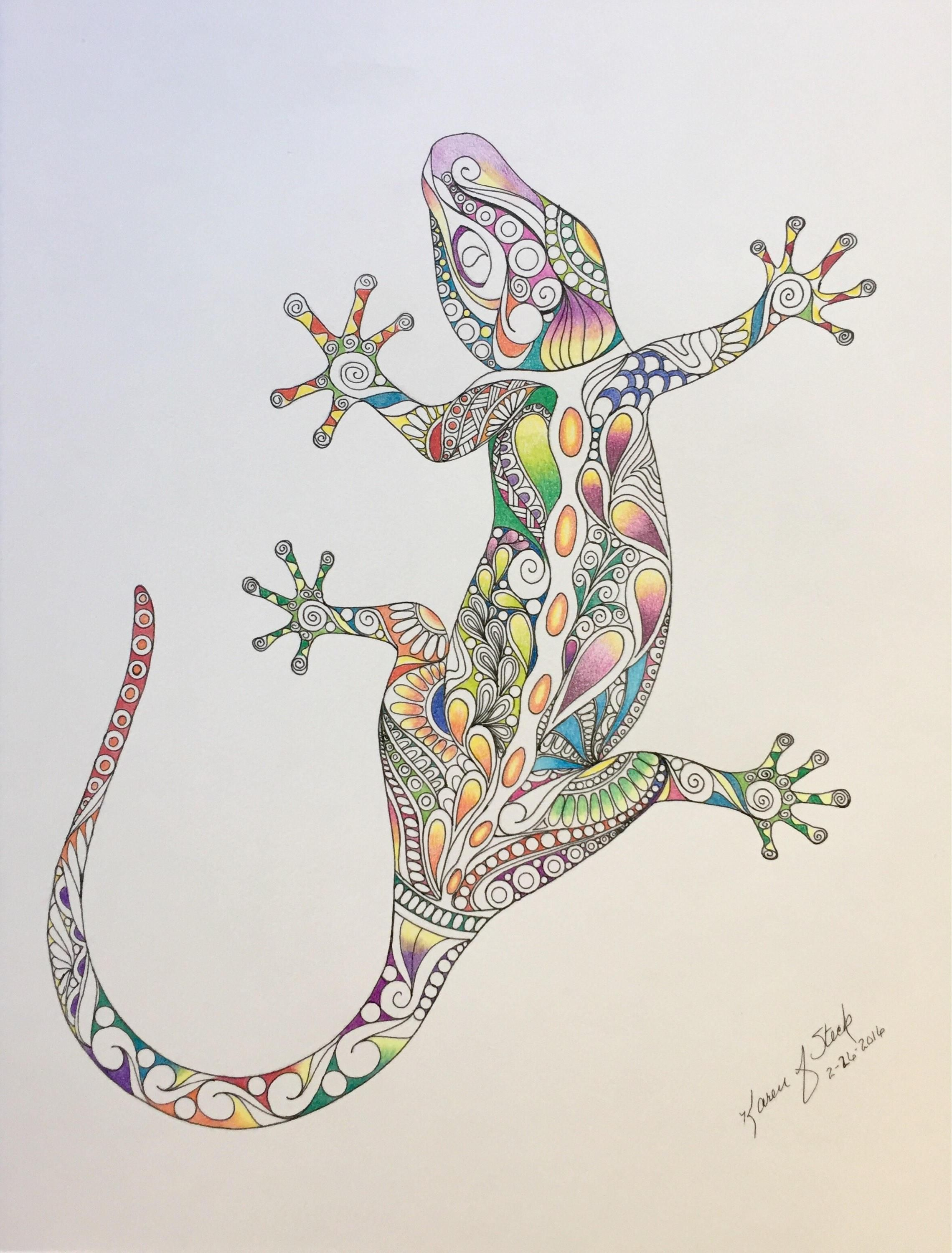 Zentangle Lizard Colored Lizard Colored Zentangle Bright Lizard Wall Lizard Art Wall Decor Reptile Art Pencils Ink Zentangle Ar Zentangle Art Art Art Pencils
