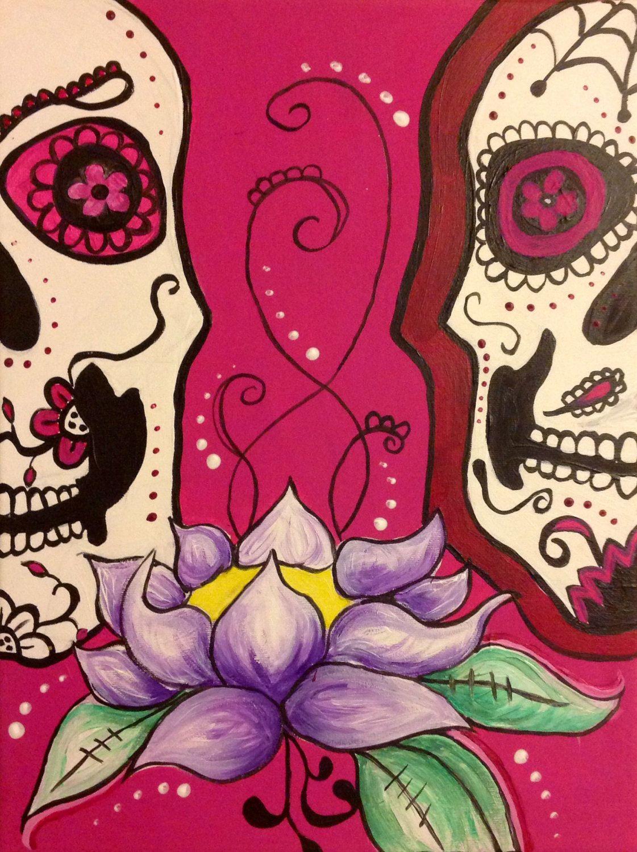 Original acrylic artwork sugar skull pink lotus by PrettyBright, £50.00