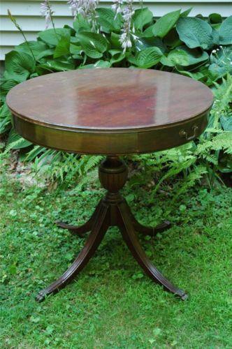 quality design 285d3 37164 Antique-Mersman-Wood-Wooden-Round-Drum-Table-w-Drawer-Claw ...