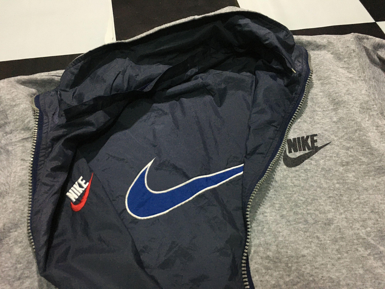 Vintage Nike Jacket Reversible Big Swoosh Size Xl Navy Blue Gray By Alivevintageshop On Etsy Vintage Nike Jacket Nike Jacket Vintage Nike