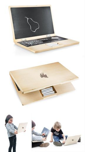 Ordenador portátil de juguete de madera con pizarra