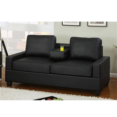 Bon Faux Leather 2 Seater Sofa With Center Console Black Finish