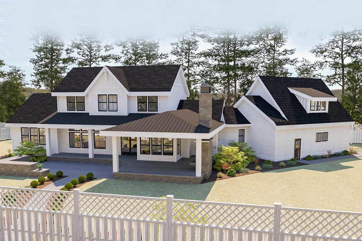 Plan 280023JWD Beautiful 5Bed Modern Farmhouse Plan with