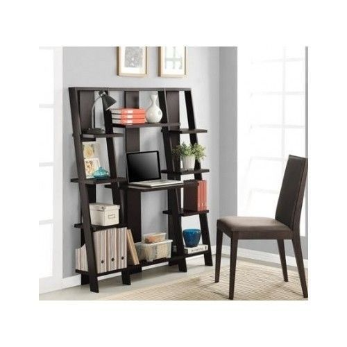 Ladder Shelf Leaning Bookshelf Desk Computer Workstation Home Office Furniture