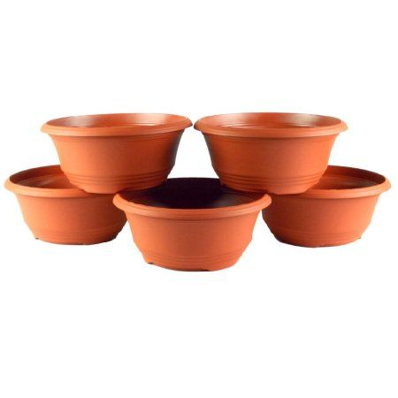 10 Inch Plastic Bowl Planter Terra Cotta 5 Pack Bronze With Images Planters Plastic Bowls Garden Planters Pots