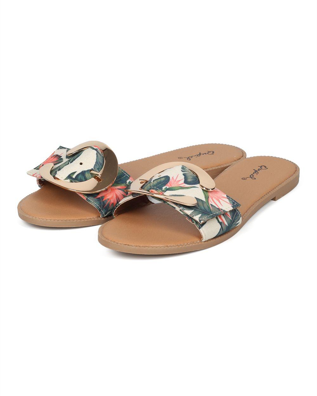 93d1c317ce282 Shoes Qupid HF70 Women Open Toe Single Band Oversize Buckle Slide Sandal