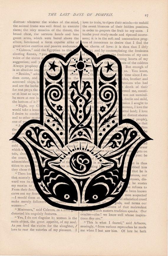 Hamsa Hand 2 Colours Evil Eye Spiritual Dictionary Print Antique Book Page Art
