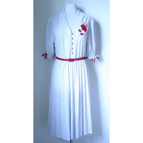 1950s Silver grey and red pleated tea dress by HouseOfHavisham, £40.00