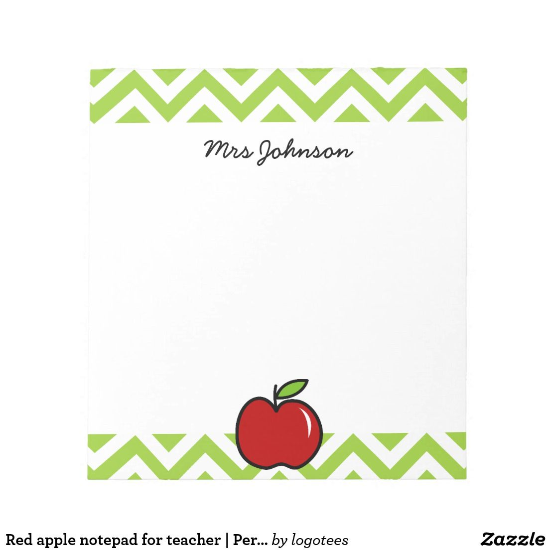 Red apple notepad for teacher Personalized name Zazzle