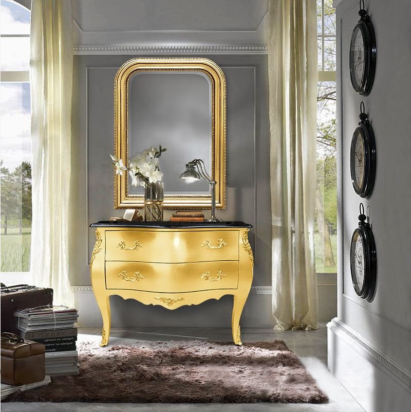 EN Baroque chest of drawers gold leaf and black top and Louis