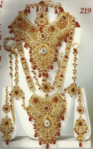 70d91971d8 Red Indian Bride 8pcs Golden Cz Kundan Dulhan Bridal Necklace Jewelry Set-219  | eBay