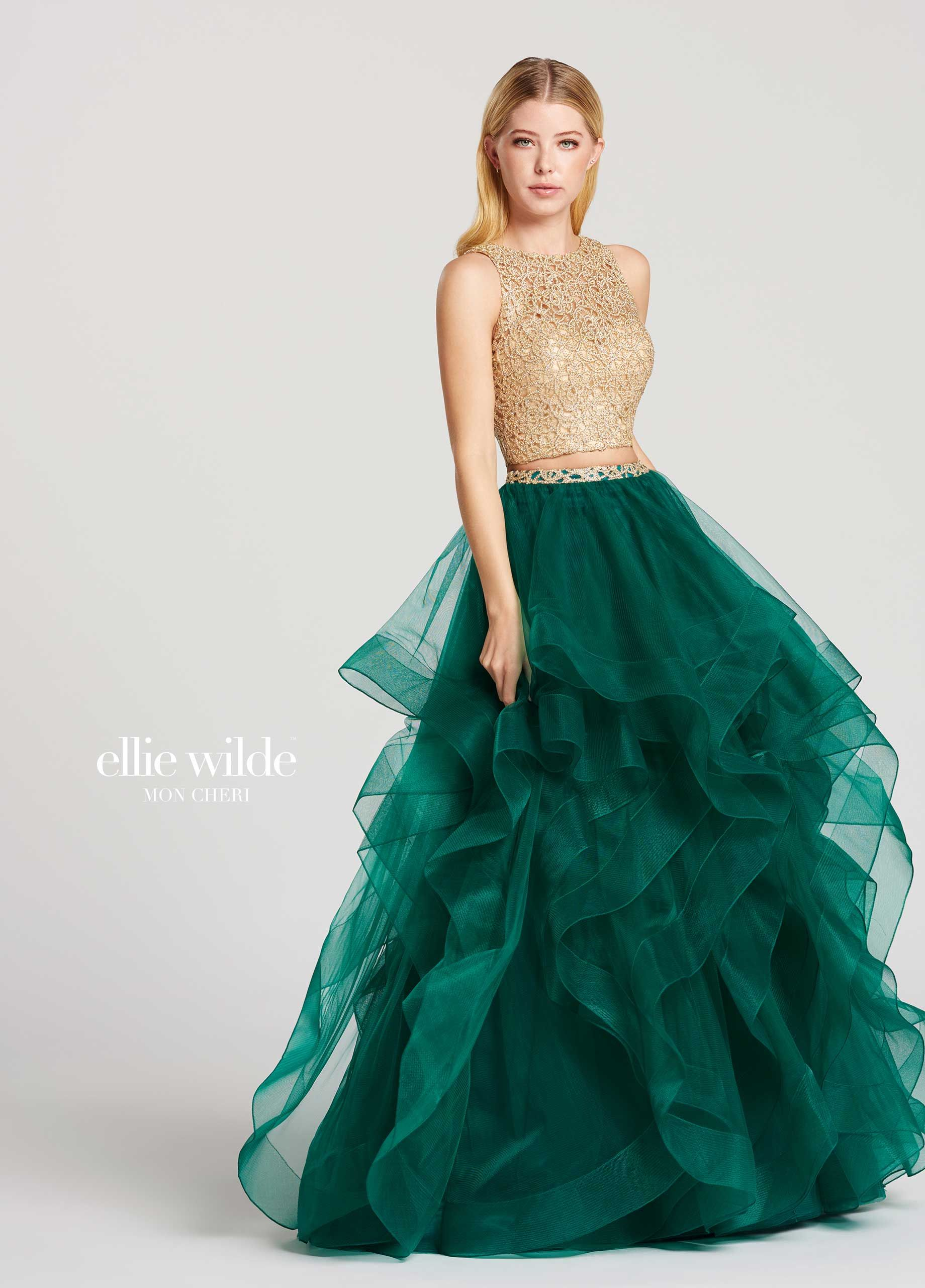 4fb59d9c2f4 Two Piece Gold Lace Crop Top Tulle Skirt Prom Dress - EW117156 ...