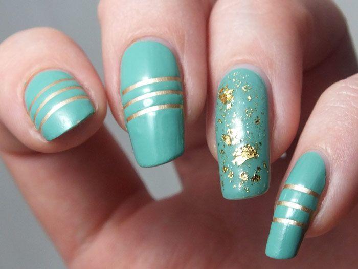 nail-art-npa-manucure-bleu-vert-turquoise-or-kiko-mirror-gold ...