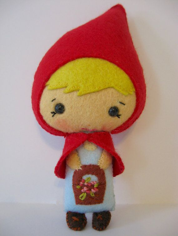 Little Red Riding Hood Sweetest Small Felt Doll by whimsyvintage