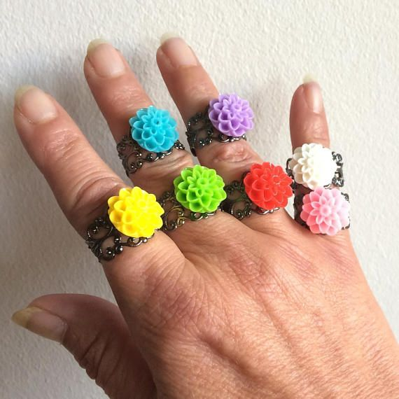 Dahlia Ring Teens Colorful Rings Adjustable Rings Black Sliver Tone Ring Womans Flower Ring Womens Boho Rings Gift Idea For Her Color Ring Flower Ring Adjustable Rings
