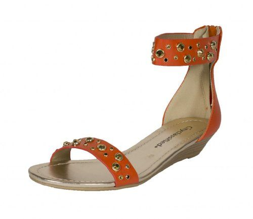 City Classified Womens Protip Open Toe Diamond Studded Ankle Strap Flat Sandal orange leatherette 75 M US ** Continue to the product at the image link.
