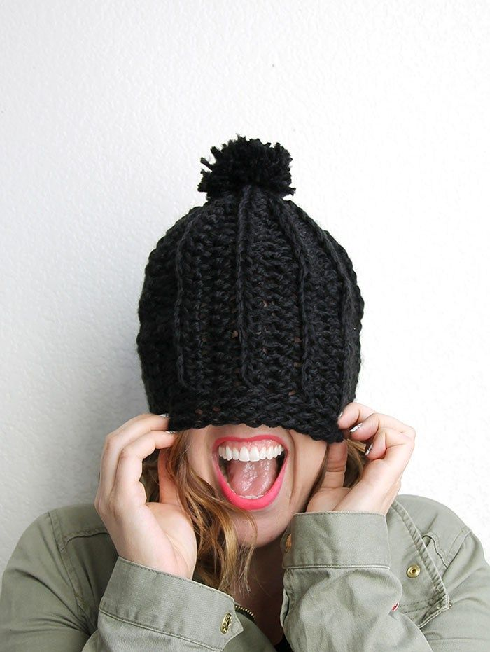 9ab927ce958 Chunky Ribbed Slouch Hat - Free Chunky Crochet Hat Pattern