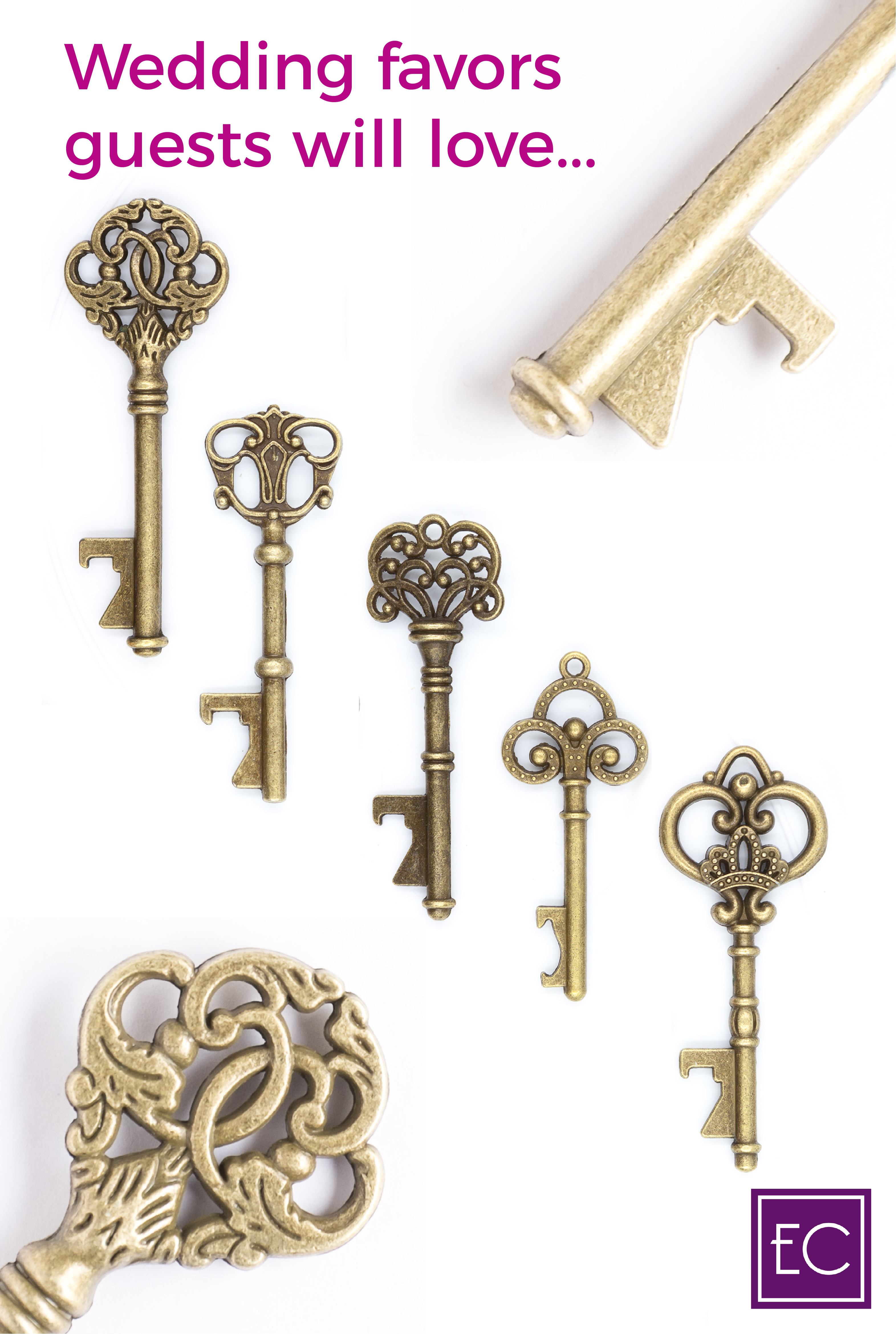 50 Assorted Key Bottle Openers - Antique Gold | Diy party ...
