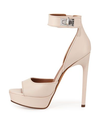 X2X3G Givenchy Leather Shark-Lock d'Orsay Sandal, Nude Pink